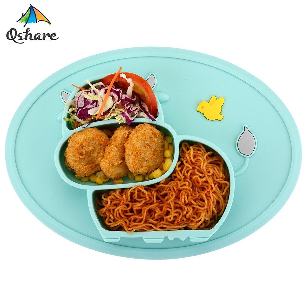 Qsharebaby placa utensílios de mesa crianças recipiente de alimentação de alimentos placemat pratos do bebê infantil copo de alimentação silicone sucção tigela para o miúdo