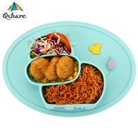 QshareBaby Plate Tableware Children Food Feeding Container Placemat Baby Dishes Infant Feeding Cup Silicone Suction Bowl for Kid