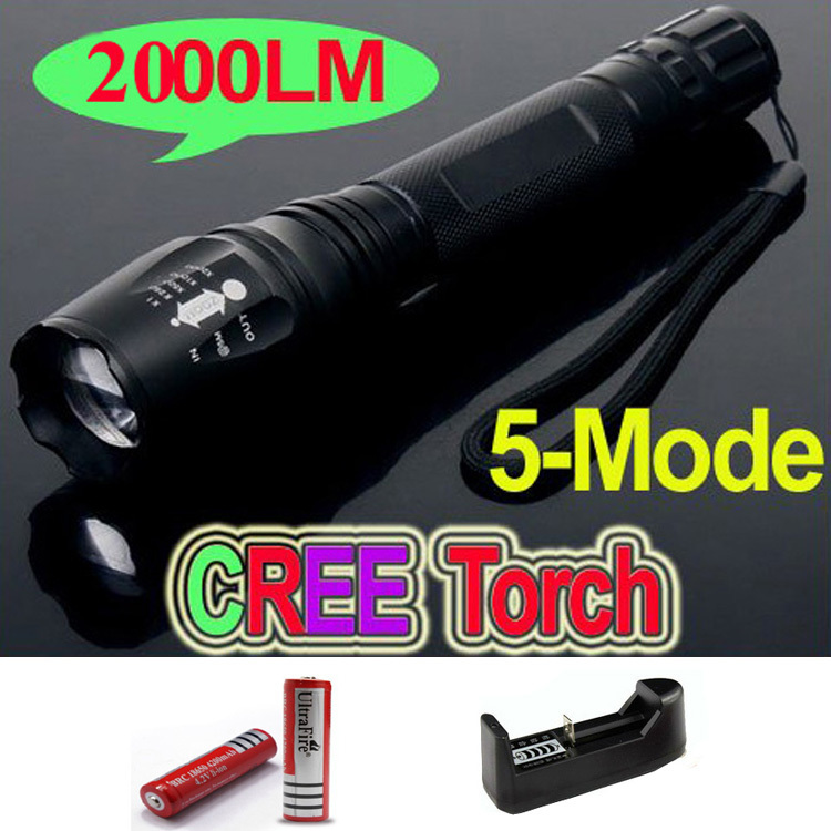 2000 Lumens Lanternas Led Torch CREE XM-L T6 Led Flashlight 18650 Torch Rechargeable With Charger Linternas Powerful Light фонарик ultrafire 2000 lanternas cree xm l t6 18650 linternas xml t6