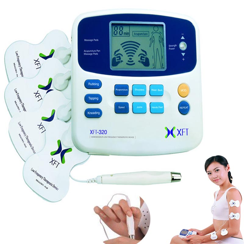 TENS machine digital massage with accupuncture pen Low Frequency Therapeutic Electrical Stimulator Health care beauty Massager new dual tens machine digital low frequency therapeutic electrical muscle stimulator tens massager with lcd backlight screen