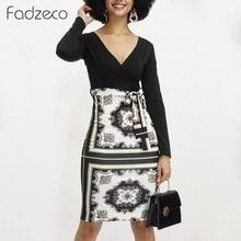 Fadzeco Women Dashiki African Dresses Elegant Long Sleeve Sexy Deep V Neck Tribal Print Bodycon Midi Dress Ethnic Pencil Dress tribal print tassel tie neck dress