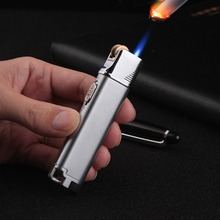 Refillable Gas Lighters Grinding Wheel Inflatable Windproof Lighter Metal Personality Ultra-thin Fixed Fire Cigarette