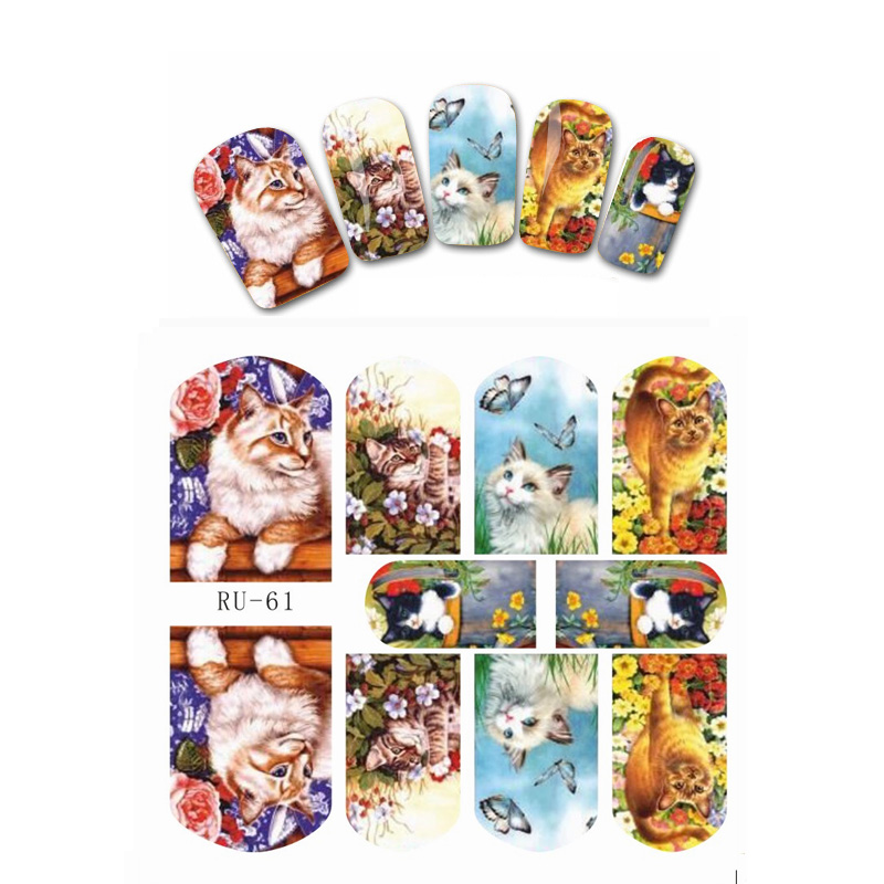 UPRETTEGO NAIL ART BEAUTY WATER DECAL SLIDER NAIL STICKER CARTOON CAT KITTEN MOUSE HERO STATUE APPLE PATTERN RU061-066 3 packs lot cartoon marine mermaid conch sea star nail tattoos sticker water decal nail art hot307 309
