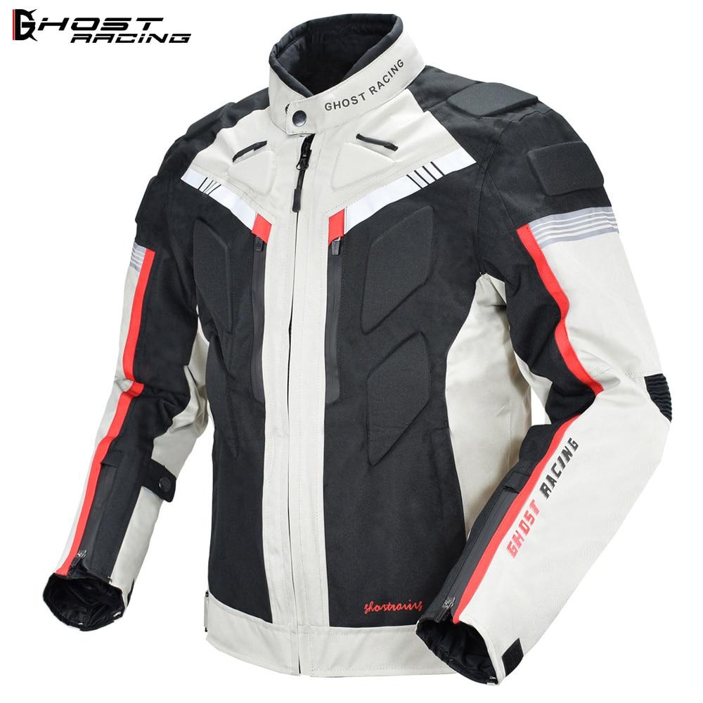 GHOST RACING Waterproof Motorcycle Armor Jacket Reflective Off-road Motocross Jacket Racing Riding Motorbike Protector Gear Neck