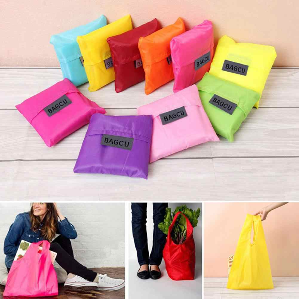 Portable Folding Shopping Bag Large Capacity Tote Reusable Square Handle Handbag Storage Bags New