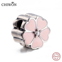Beautiful Authentic 925 Sterling Silver Stunning Cherry Blossom Clip Pink Enamel Charm Fit Bracelet Bangle Flower
