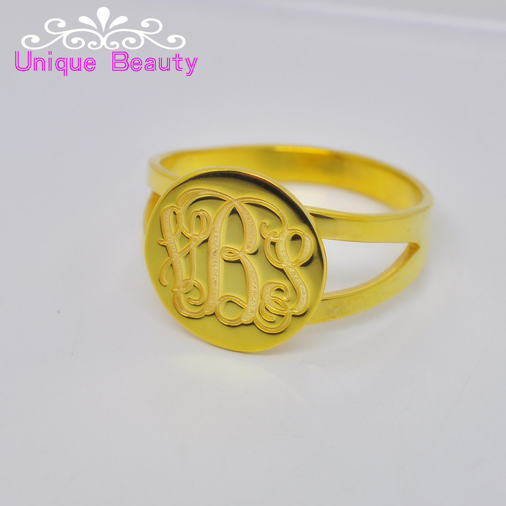 Wholesale Personalized Monogrammed Ring Gold Hand Stamp 3 Initial Silver Engraved Letter Disc Custom Signet Ring Christmas Gift bbloop by hand self inking stamp rectangular laser engraved red