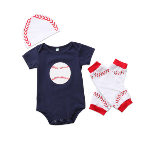 3PCS Summer 2018 Newborn Baby Boys Girl Rugby Short Sleeve Tops Bodysuits Hats Leg Warmer Outfits Clothes