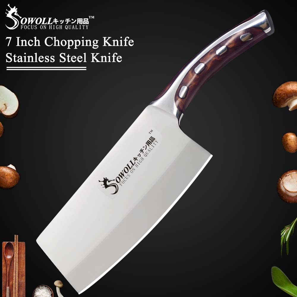 Stainless Steel Knife Sowoll Kitchen Knife 7 Inch Japanese Chef Knife Non Slip Resin Fibre Handle Quality Stainless Steel Clever Cutter Chopping Knife