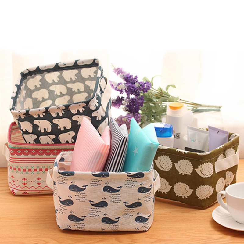 1PC Cartoon Cotton Linen Desk Storage Box Holder Basket Case Jewelry Cosmetic Stationery Organizer Tools For Cosmetic Stationery