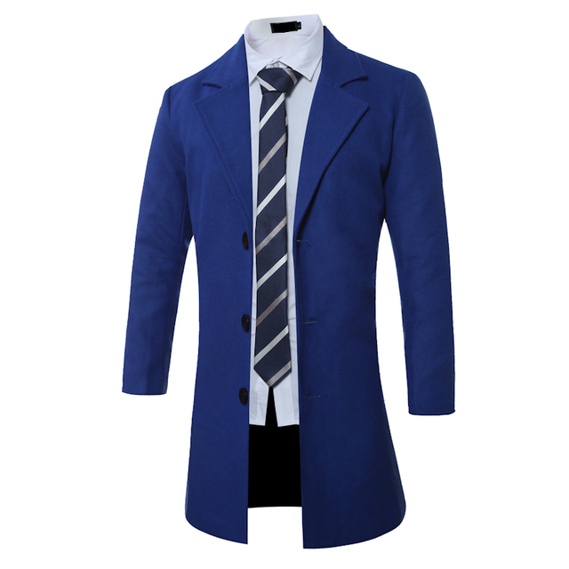 8 colors wool trench coat men slim fit long sleeve fashion 2016 autumn single breasted mens coats luxury size 4xl