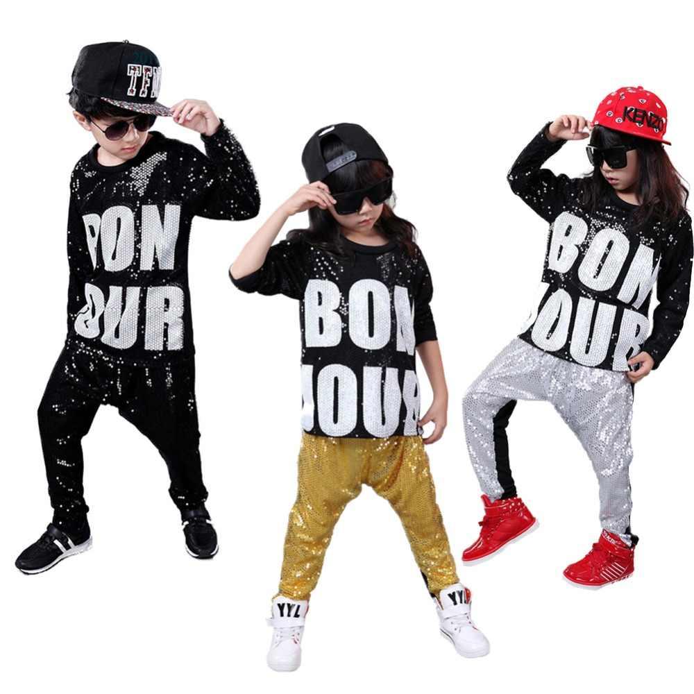Niñas lentejuelas trajes de baile Hip Hop plata negro salón de baile Hip  Hop Jazz moderno eceafb50a7c
