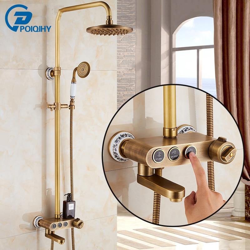 Thermostatic retro black bathroom shower faucet all copper antique keystroke lift shower faucet set портативный парогенератор laurastar lift plus ultimate black
