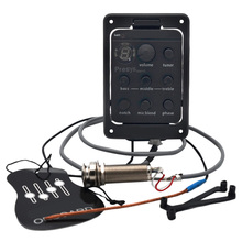 4 Band Guitar Pickups Dual Mode Preamp Eq Tuner Piezo Pickup Equalizer System With Mic Beat Board Acoustic Guitar Pickups цены