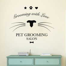 Pet Shop Wall Window Sticker Grooming Salon Decal Cat Beauty Care Mural Dogs Cats Decoration AY1330