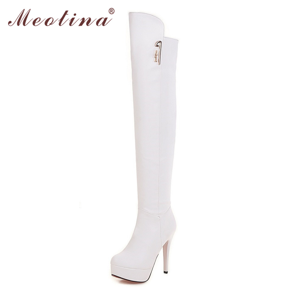 Meotina Sexy Thigh High Boots Women High Heel Over the Knee Boots Zip Platform High Heels Ladies Shoes Black Big Size 9 10 40 43 brand new fashion black yellow women knee high cowboy motorcycle boots ladies shoes high heels a 16 zip plus big size 32 43 10