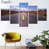 Modern Canvas Posters Home Decor Wall Art Pictures 5 Pieces Sunset Dusk Highway Landscape Paintings Living