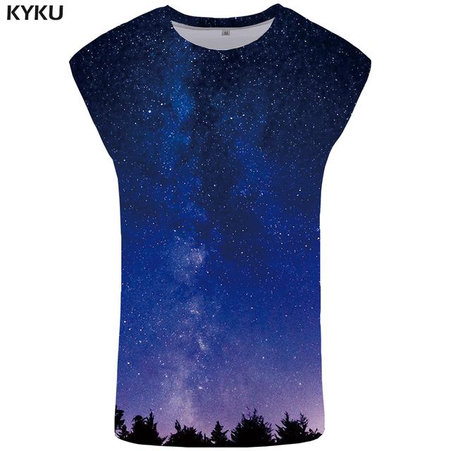 KYKU Galaxy Tank Top Men Blue Undershirt Vintage Ftness Clothing Gothic Singlet Space Vest Stringer Sleeveless Shirt 2018