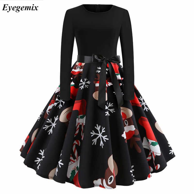 dbd59e0f092 Женское винтажное рождественское платье элегантные печатные зимние  повседневные миди платья с круглым вырезом сексуальные платья для