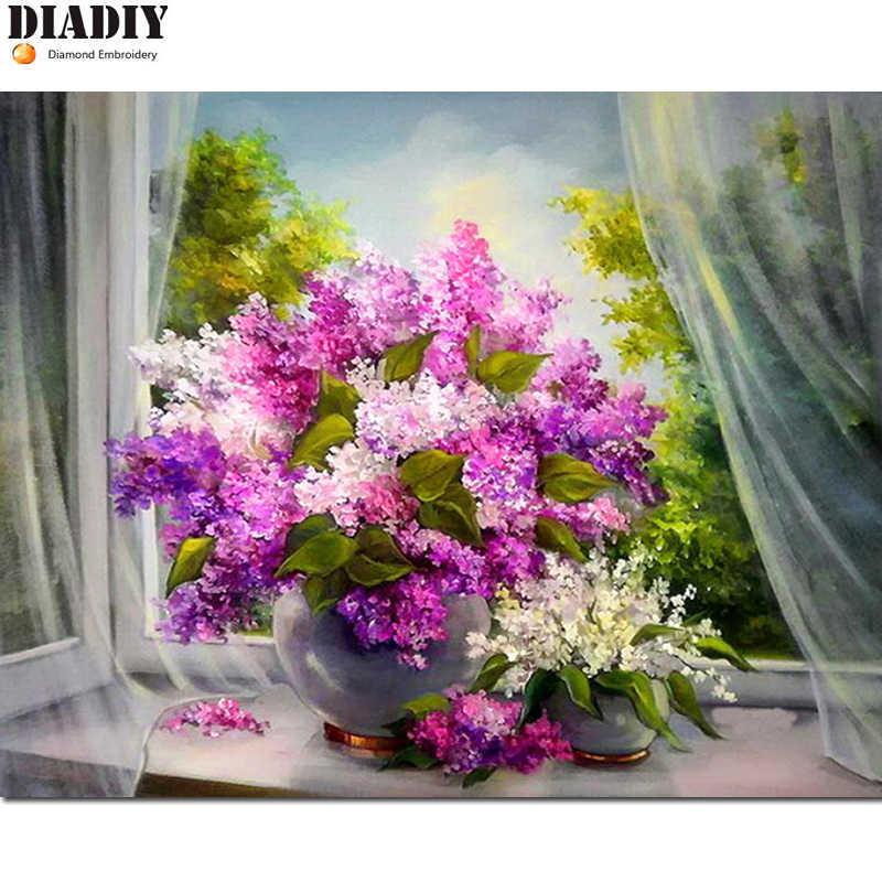 Diadiy алмаз живопись, алмаз вышивка, сиреневые цветы творческий, мультфильм, Круглый, подарок, Алмазная мозаика, украшения