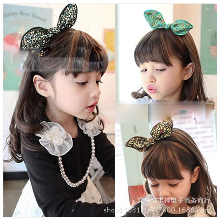 Korea Hair Accessories Wholesale Floral Cotton Cloth Knotted Flower Headband Rabbit Ears Hairband Hair Bow Princess