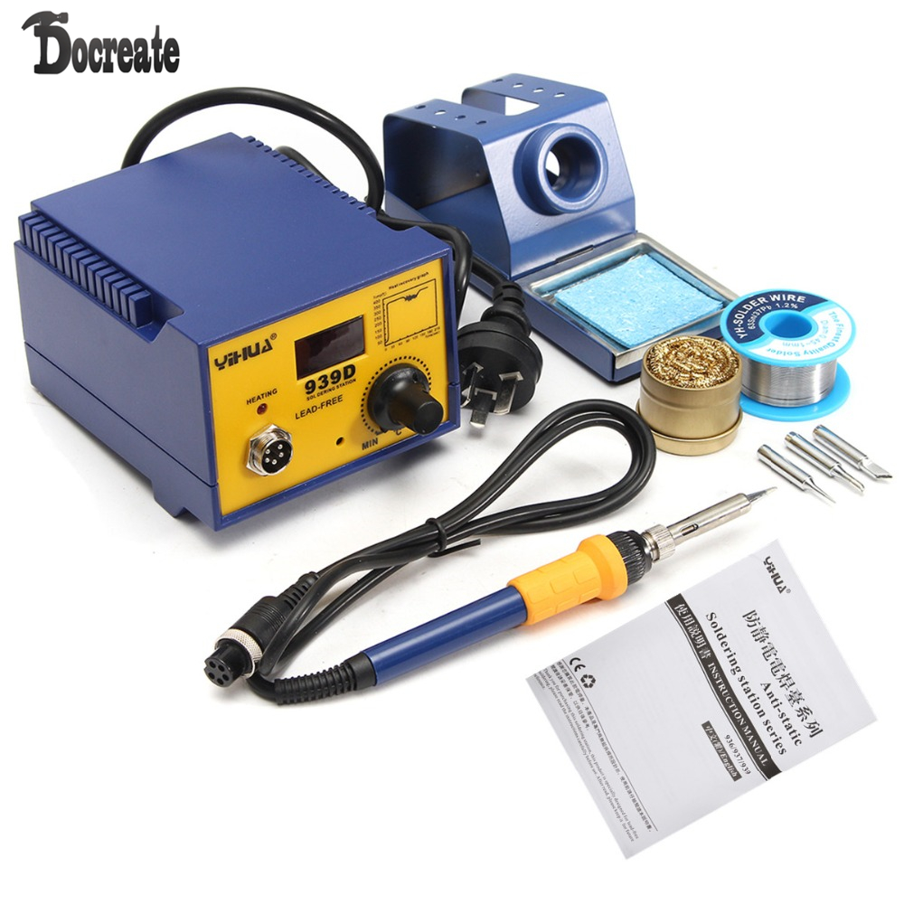 939D 75W Digital Display Soldering Rework Solder Iron Station 3 Tip Lead Welding esd safe 75w soldering handpiece t245a solder iron handle for di3000 intelligent soldering station