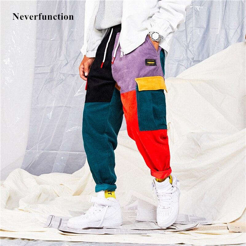 2019 New Vintage Couleur Bloc Patchwork Velours Cargo Hip Hip Pantalon Streetwear Harajuku Brodé lettres Jogger Coton Ouaté