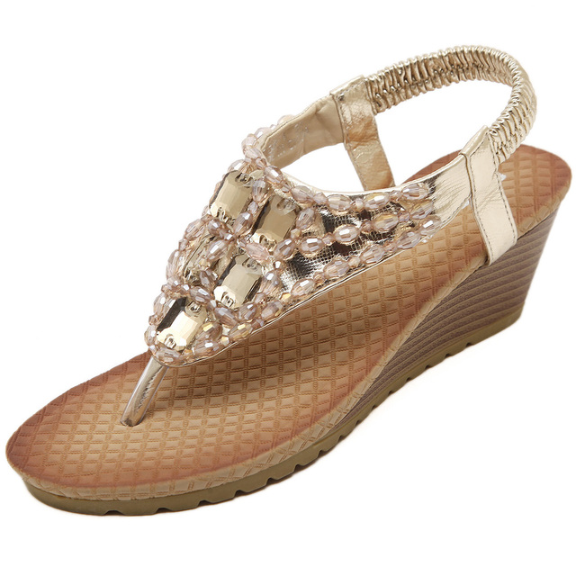 ee6015fe9362e Women Wedge Sandal Bling Rhinestone Flip Flops Casual Silver Gold Crystal  Platform Sandals Gladiator Shoe Woman Size 35-42. Anniversary Sale ...
