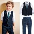XT-214 3pieces set autumn 2016 children's leisure clothing sets kids boy suit vest gentleman clothes weddings formal clothing