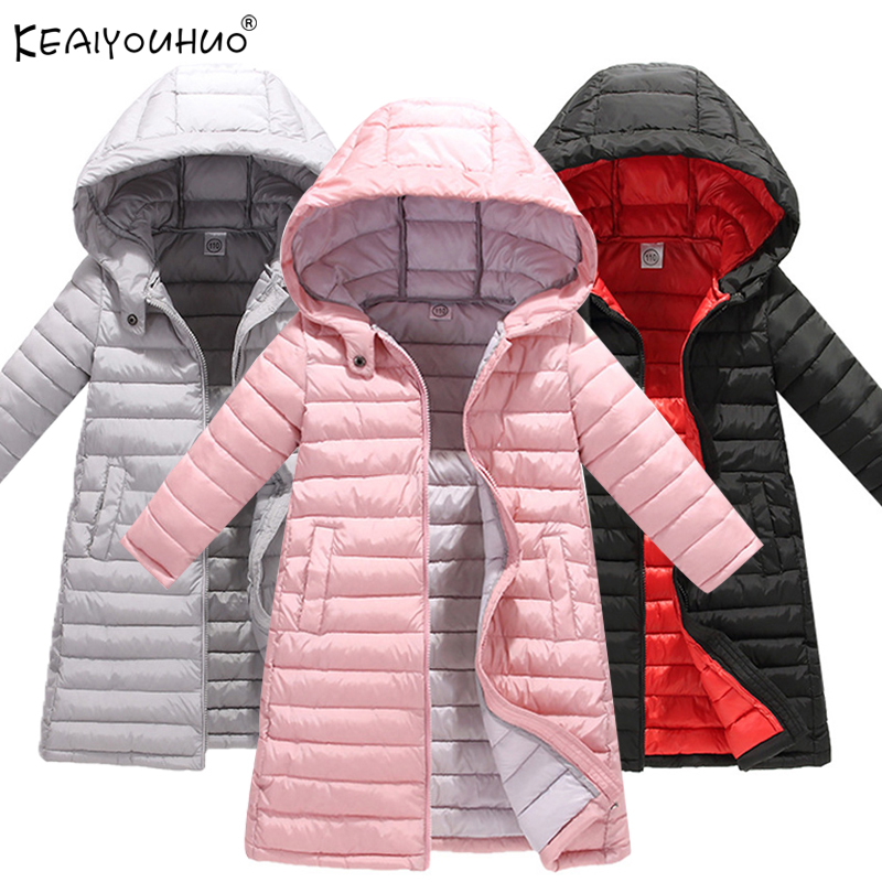 KEAIYOUHUO 2018 Jackets For Girls Boys Coats Print Winter Warm Girls Down Jacket Children Clothing Cotton Hooded Kids Outerwear 2017 winter down jackets for girls cartoon hooded outerwear fashion warm infant cat print down coat christmas gift kids clothing