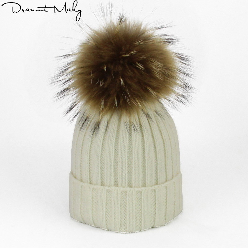 New Winter Brand Female Ball Cap Pom Poms Winter Hat For Women Girl 'S Hat Knitted   Beanies   Cap Hat Thick Women   Skullies     Beanies