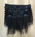 """Kinky Curly Hair Clips En Extensiones de Cabello Humano Cabeza Llena Clip En Extensiones Bundles Mongol Virgen Del Pelo Negro # 1B 10 """"-26"""""""