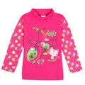 Varejo crianças crianças nova crianças desgaste longo seleeve gatos adoráveis floral t-shirt da menina 2016 roupa nova menina venda quente