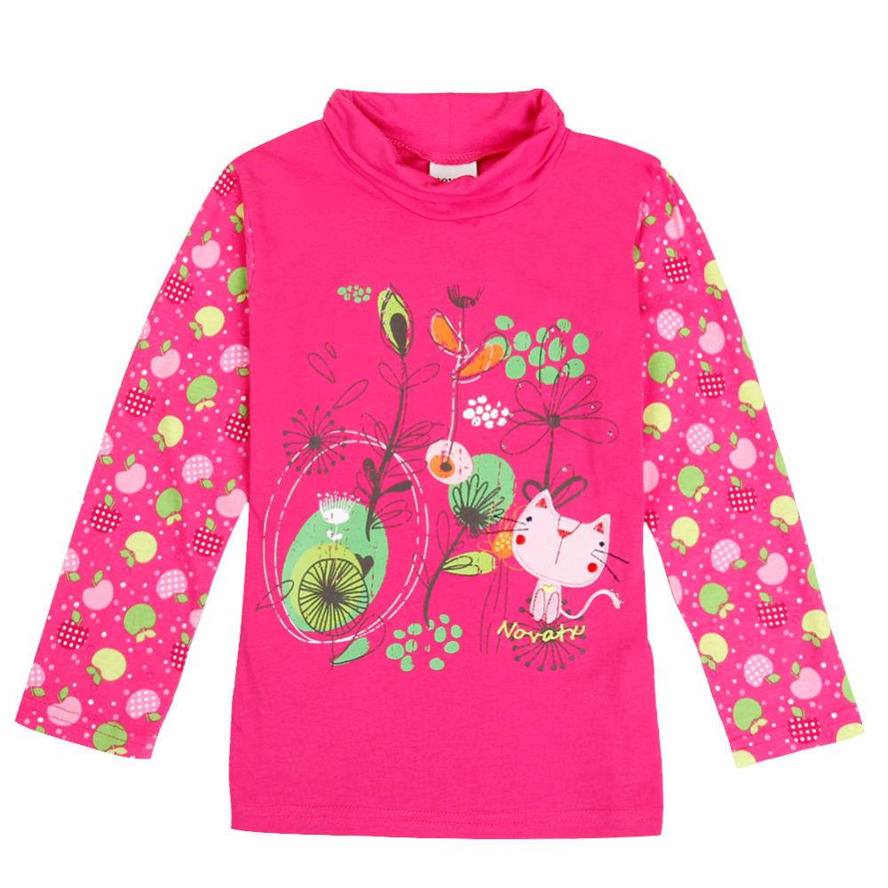 retail kids children nova kids wear long seleeve lovely cats floral girl t-shirt 2016 new baby girl clothing hot sale