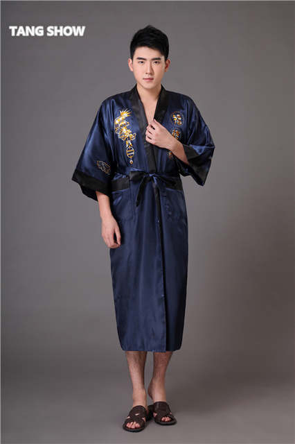661f0844a7 Black Navy Blue Reversible Men s Kimono Gown Chinese Male Two Side Satin  Robe Embroidery Dragon Sleepwear
