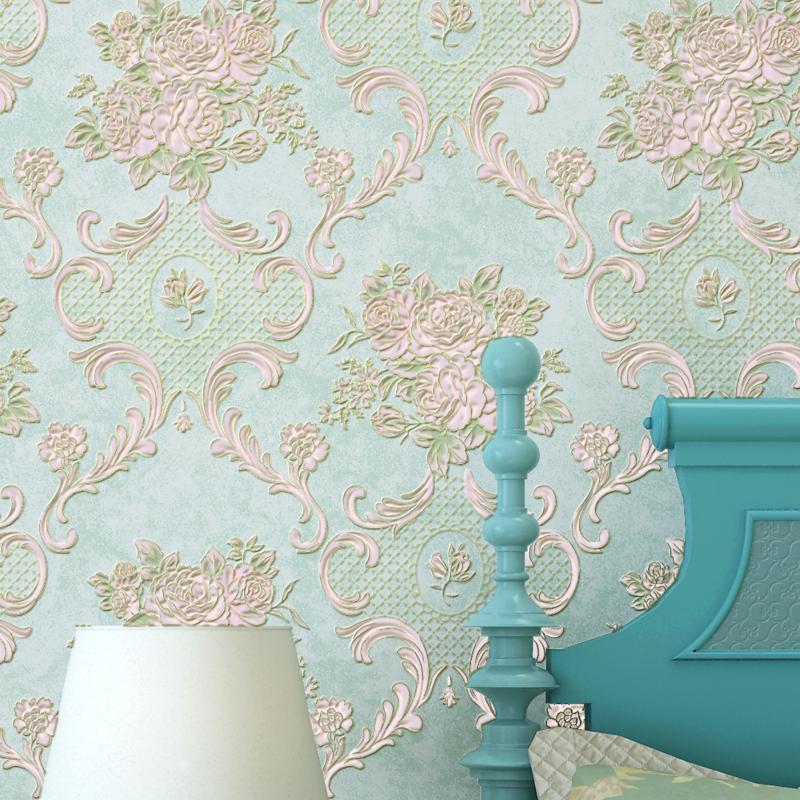 American Style Rustic Small Flower Non-woven Wallpaper Roll Blue Pink Beige 3D Embossed Floral Living Room  Wall Paper for Walls