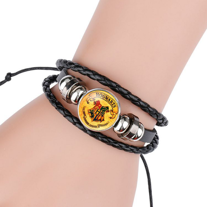 Octbyna Vintage Leather Rope Harry Potter Four magic college Badges Deathly Hallows Bracelets Hand Bracelets for Movie Fans