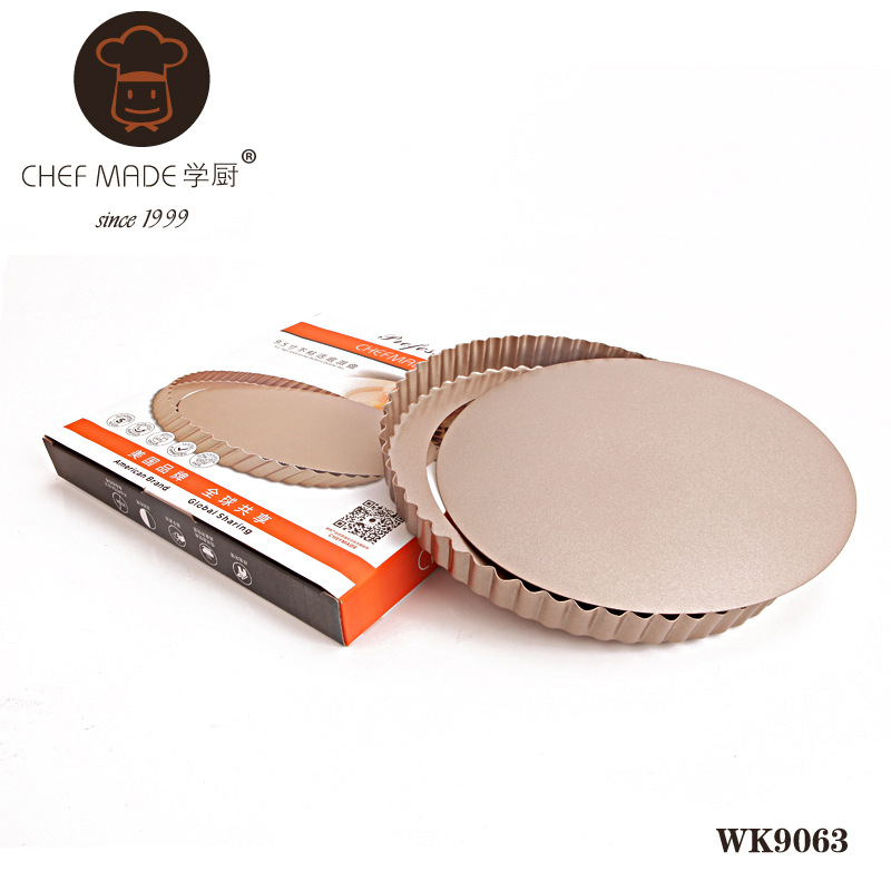 High Quality WK9063 golden 9 5 inch nonstick live bottom tart pan round pie pan baking