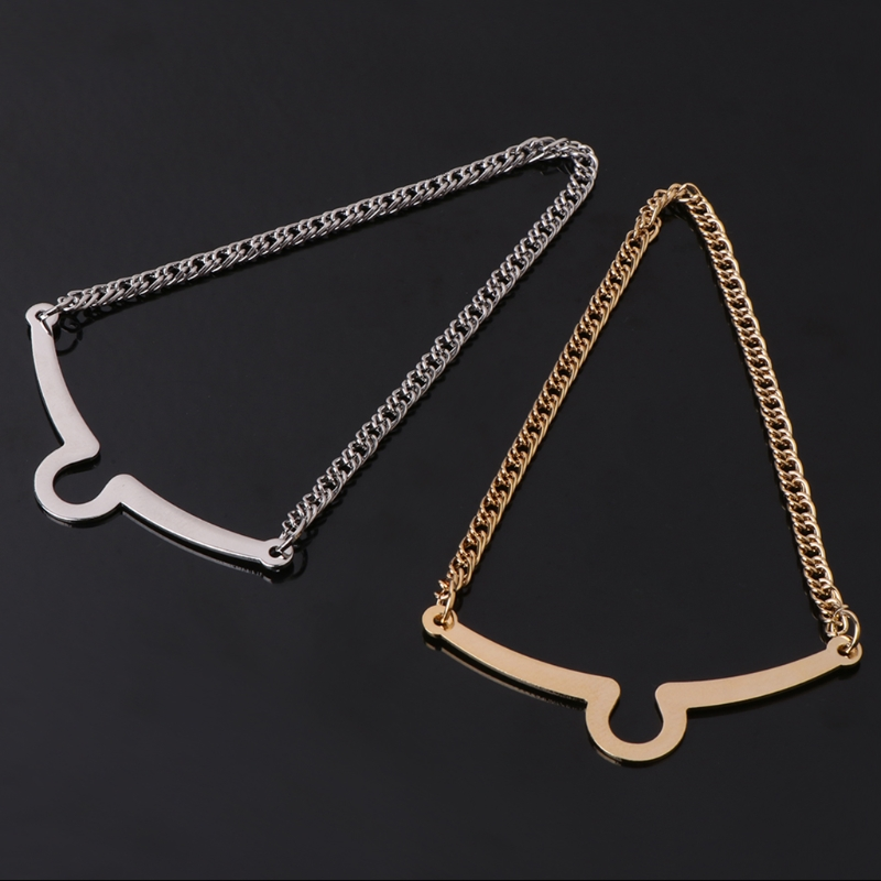 2pcs Hot Sale Men Tie Chain Gold Silver Alloy Fashion Bowtie Suit Shirt Jewelry