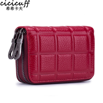 цены Genuine Leather Credit Card Holder for Women Female Double Zipper Leather Cardholder Wallet Men Card Purse with Coin Pocket RFID