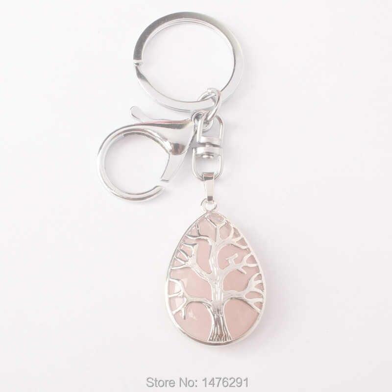 25 มิลลิเมตร X 35 มิลลิเมตรโอปอลอเมทิสต์ภูเขาไฟ Turquoises Rose สีชมพูควอตซ์ Lapis Teardrop ลูกปัด Chakra Healing Amulet จี้ key