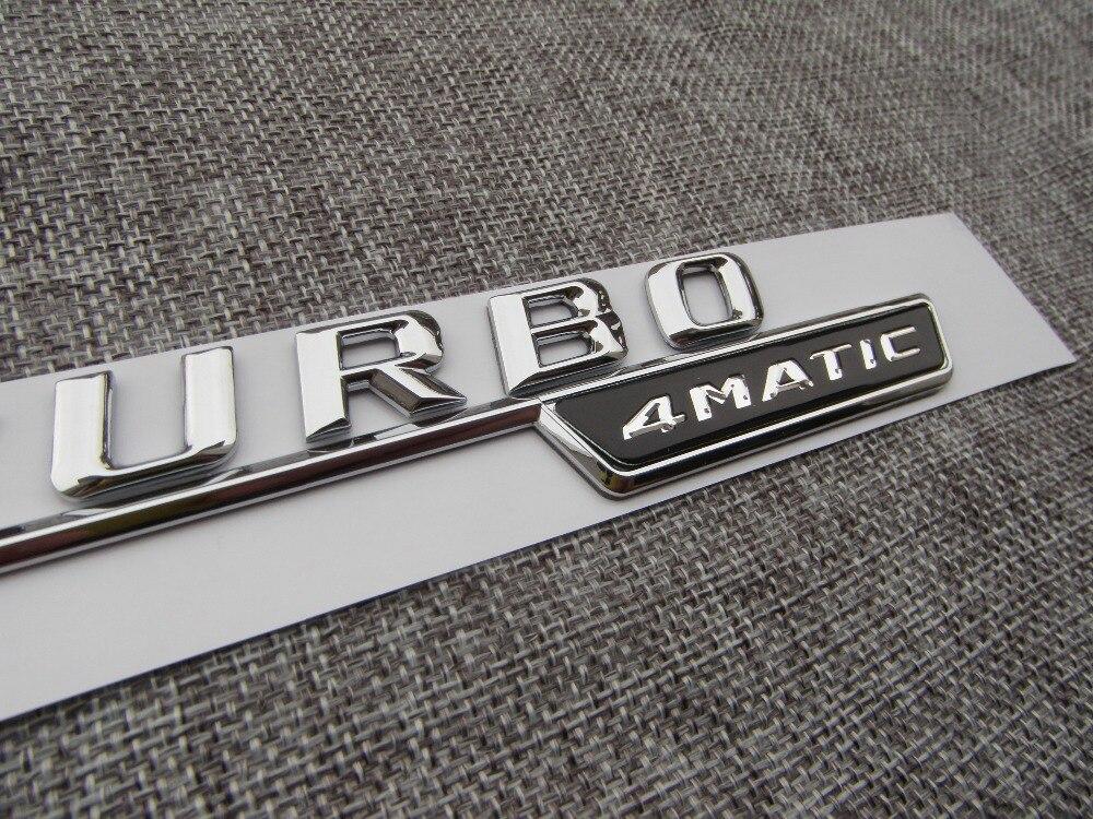 Chrome TURBO 4MATIC Number Letters Trunk Badge Emblem Decal Sticker - Reservdelar och bildelar - Foto 4