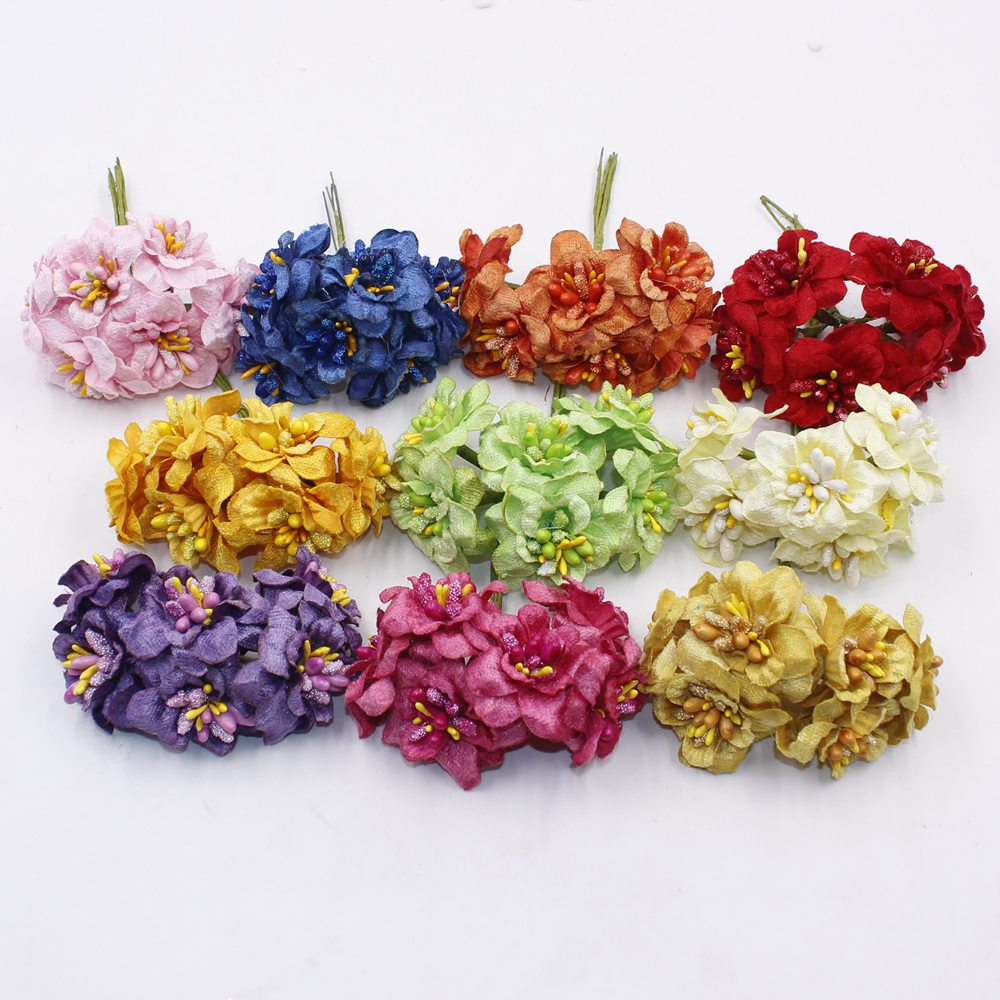 6pcs/lot 5cm Decorative Artificial Silk Cherry Blossom Flowers Plum Blossom Bouquet Wreath Corsage Scrapbooking Wedding Accessor