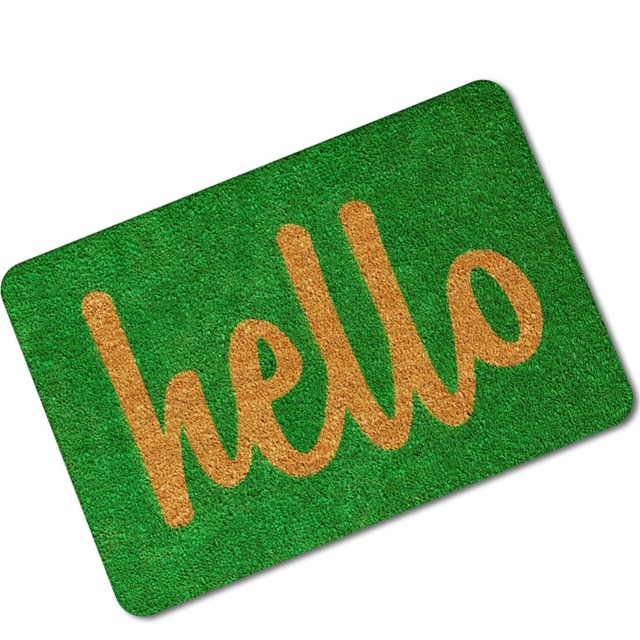 MDCT Anti Slip Welcome Door Mats Carpet 40x60cm 45x70cm Hello Pattern  Outdoor Floor Mats Hallway