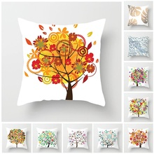Fuwatacchi Happy Tree Cushion Cover for Sofa Life Decorative Pillows Colorful Flowers Butteryfly Covers 2019