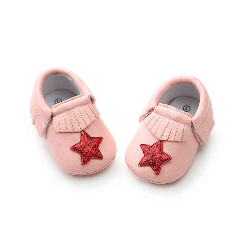 ... Fashion glitter Heart star style PU leather Newborn baby girls shoes  Fringe first walker crib shoes ... 9610d5cabf3e