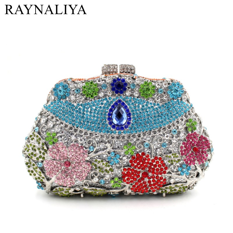 High Quality Women Blue Flower Evening Bags Ladies Mini Wedding Party Clutch Bag Crystal Diamonds Purses   SMYZH-F0093 milisente high quality luxury crystal evening bag women wedding purses lady party clutch handbag green blue gold white