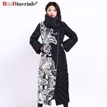 Winter Jacke Frauen X Lange Druck Dünne Dicke Weiße Ente Unten Mantel Elegante Mode Weibliche Warme Mantel BOoDinerinle YR159