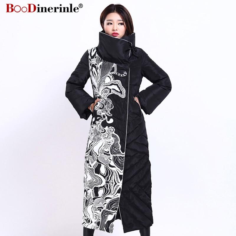Winter Women's Jacket Fashion Female X-Long Print Slim Thick White Duck   Down     Coat   Elegant European Style Warm Overcoat YR159