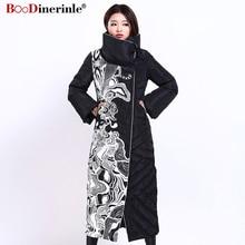 겨울 자켓 여성 x 긴 인쇄 슬림 두꺼운 흰색 오리 코트 아래로 우아한 패션 여성 따뜻한 외투 boodinerinle yr159